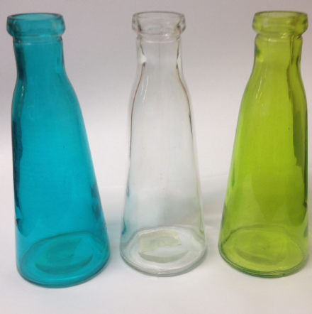 Set of 3 Glass Traditional Bottles ~ Blue Green & Clear Decorative Bottle Vase